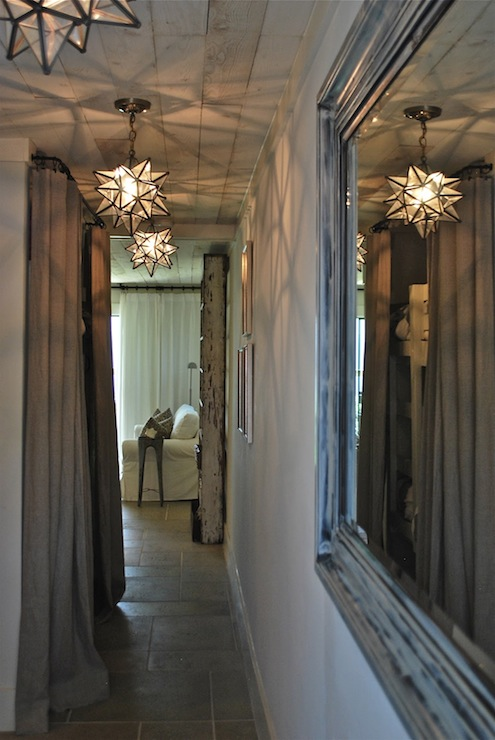 Moravian Star Pendants Mediterranean Entrance Foyer