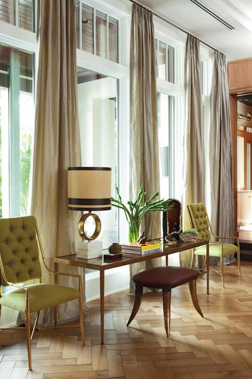 Herringbone hardwood floors hollywood regency living for Nate berkus window treatments