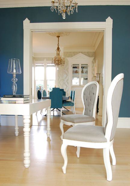 Peacock blue walls eclectic living room farrow for Peacock dining room ideas