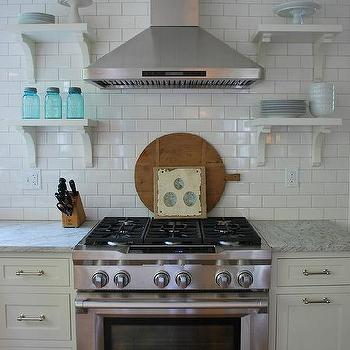 Subway Tile Backsplash, Cottage, kitchen, Benjamin Moore Marscapone, Vreeland Road