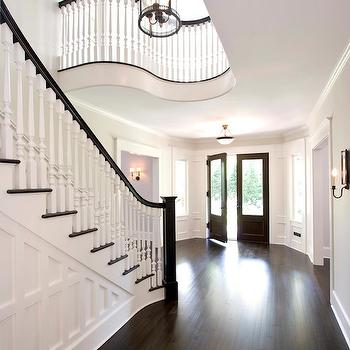 Staircase Millwork, Transitional, entrance/foyer, Benjamin Moore Atrium White, Clawson Architects