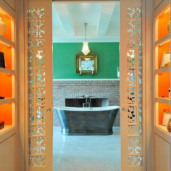 Carved Pocket Doors, Eclectic, bathroom, Nate Berkus Design