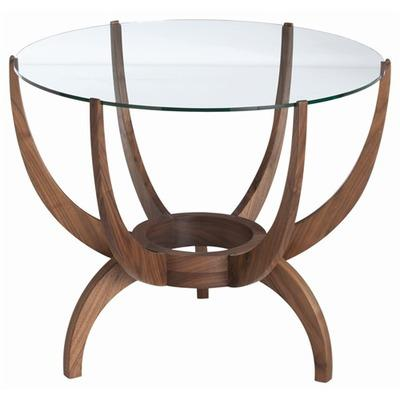 Oswald Round Glass Wood End Table