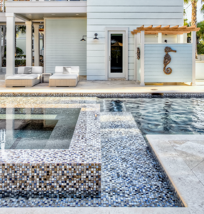 Blue And Gold Mosaic Pool Tiles Design Ideas