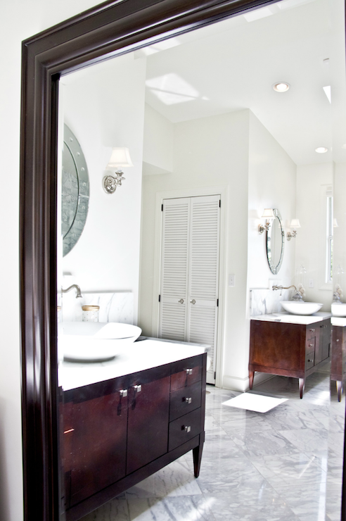 Cherry Bathroom Vanities Transitional Bathroom Beach