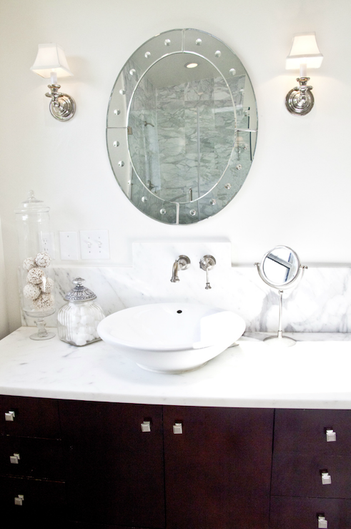 White Bowl Sink Transitional Bathroom Beach Chic Design - Beach house bathroom mirrors