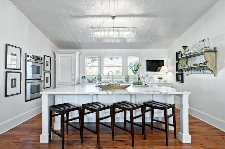 Beadboard Kitchen Ceiling Cottage Kitchen Beach Chic