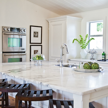 Kitchen with Statuary Marble Countertops, Cottage, kitchen, Beach Chic Design