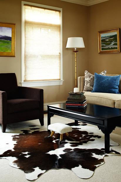 cowhide rug transitional living room