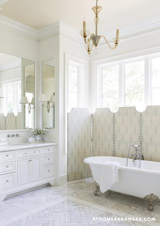 Marble Herringbone Inset Tiles Transitional Bathroom