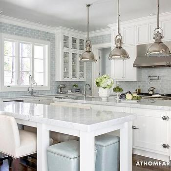 White and Blue KItchen, Transitional, kitchen, At Home in Arkansas