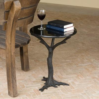 Weathered Stump Whitewash Accent Table