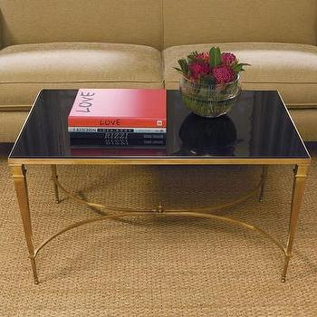 Global Views French Square Brass & Black Granite Coffee Table, Wayfair