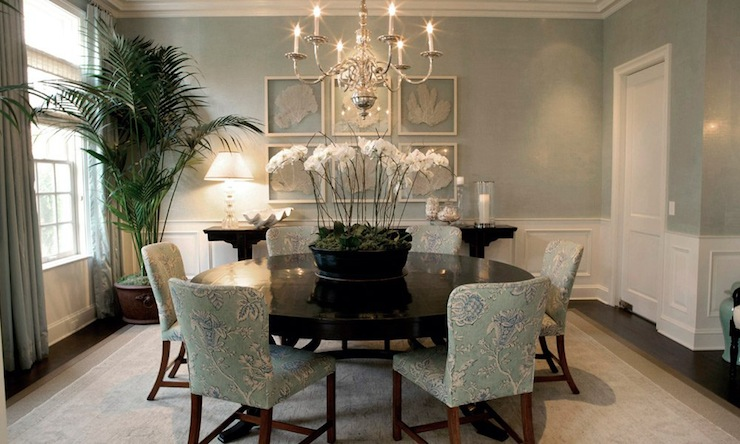 Beautiful Sea Foam Green Dining Room With Coastal Feel