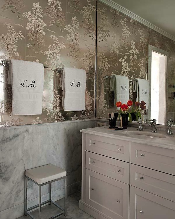 Metallic Wallpaper Transitional Bathroom Nuevo Estilo