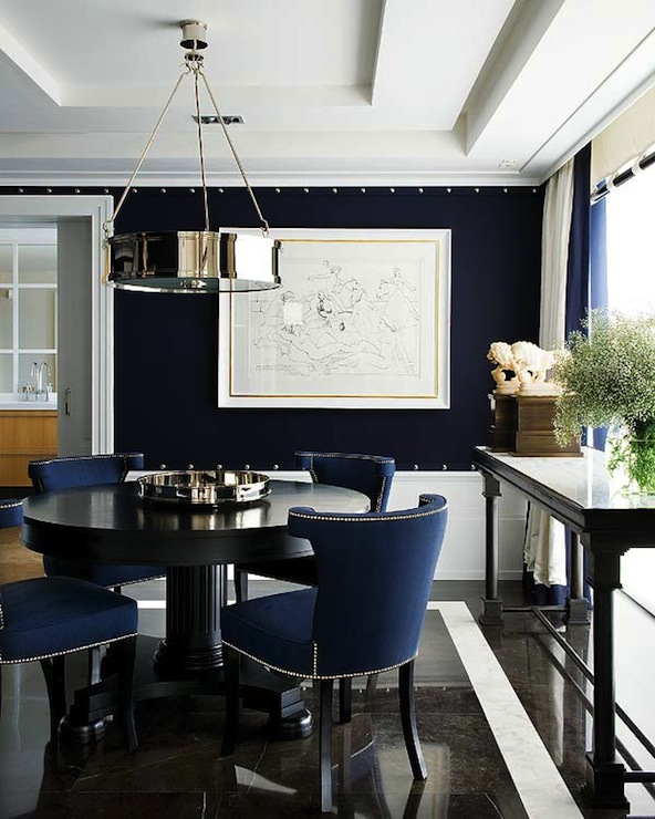 Navy blue dining room contemporary dining room nuevo for Dining room ideas in blue