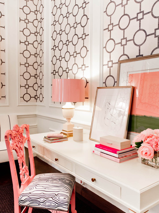 White and pink office hollywood regency living room for Wallpaper design for office wall