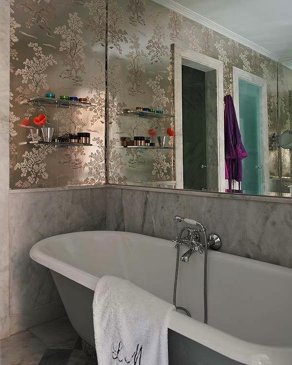 Metallic Foil Wallpaper Transitional Bathroom Nuevo