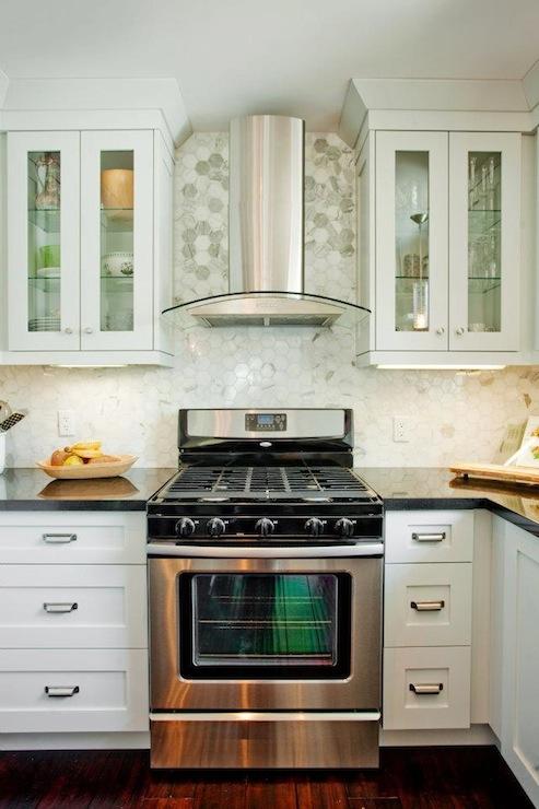 White Hexagon Backsplash White Cabinets