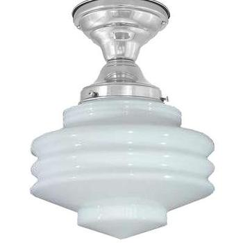 High Street Market, Campbell Milk Glass Ceiling Fixture, Nickel