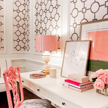 White and Pink Office, Hollywood Regency, living room, Tobi Fairley