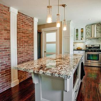 Kitchen with exposed brick wall cottage kitchen for White exposed brick wall