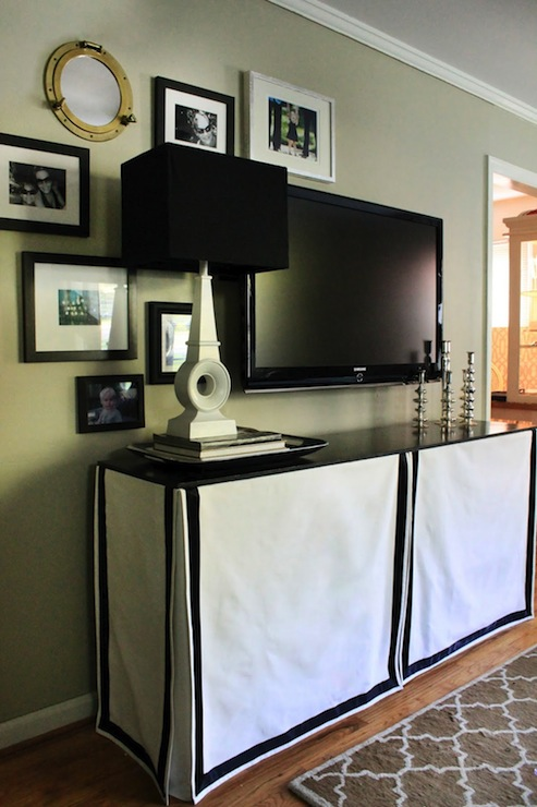 Skirted Media Console Eclectic Living Room The