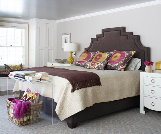 Chocolate Brown And Purple Bedroom With Velvet Bed Elegant Shapely Headboard