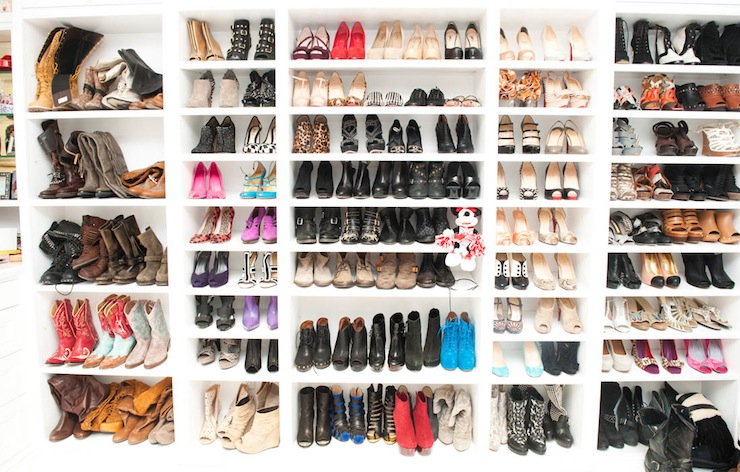 Ashley Tisdale   Crisp White, Simple Shoe Storage Display.