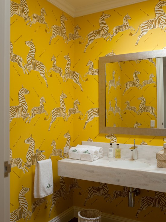 Zanzibar gold wallpaper contemporary bathroom diane for Modern bathroom wallpaper