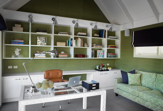 Delightful Amazing Green Office Design With Green Grasscloth Wallpaper And White Wood  Paneled Vaulted Ceiling.