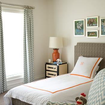Blue and Orange Boy's Bedroom, Contemporary, boy's room, Diane Bergeron Interiors