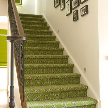 Moroccan Trellis Stair Runner, Transitional, entrance/foyer, Diane Bergeron Interiors