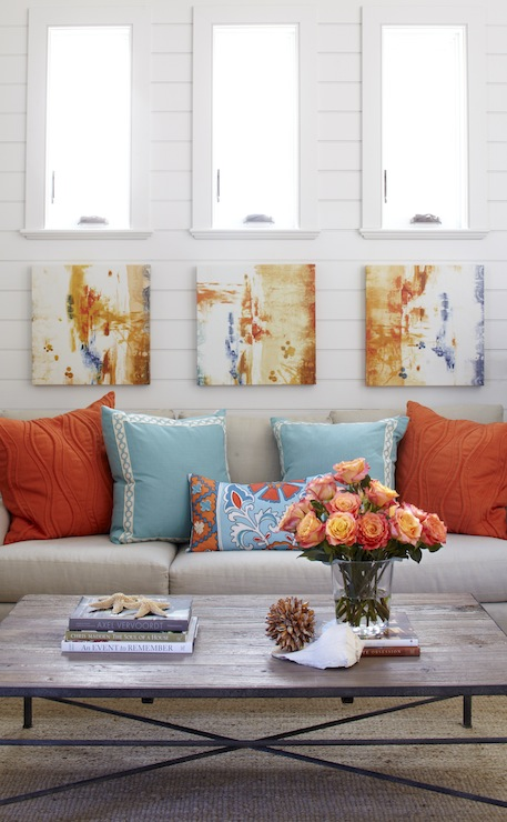 Beachy Turquoise And Orange Living Room With White Tongue U0026 Groove Walls  And Trio Of Small Abstract Canvas Art. Part 47
