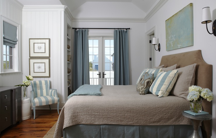 brown and blue bedroom cottage bedroom tracery interiors