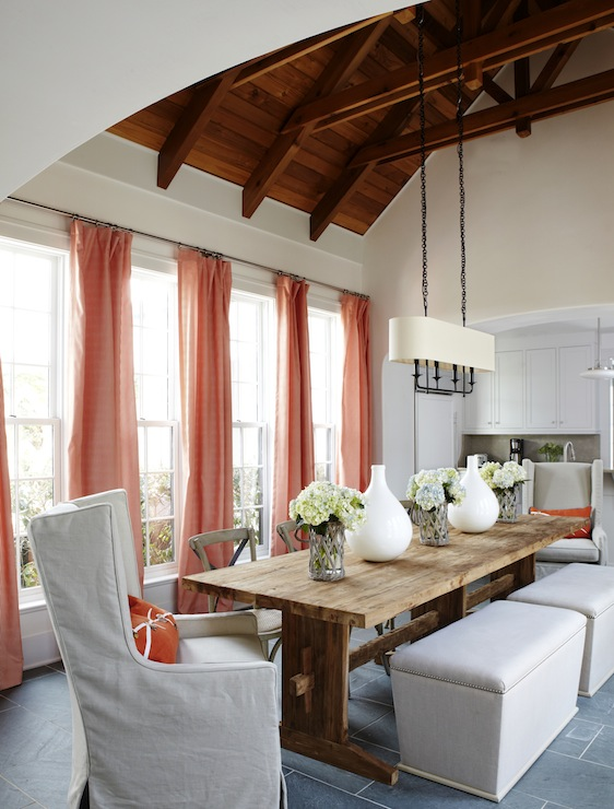 Slipcovered dining chairs transitional dining room for Vaulted ceiling exposed beams