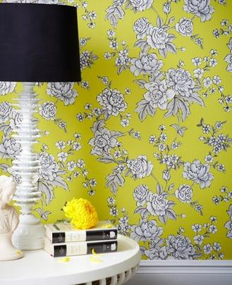 Graham And Brown Chartreuse Yellow Floral Wallpaper