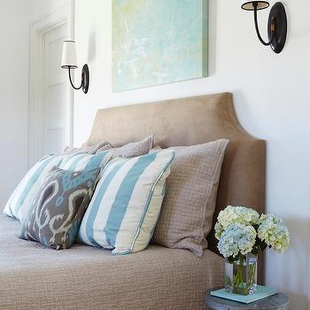 Microfiber Headboard, Cottage, bedroom, Tracery Interiors