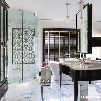 Antiqued Mirrored Cabinets, Hollywood Regency, bathroom, At Home in Arkansas