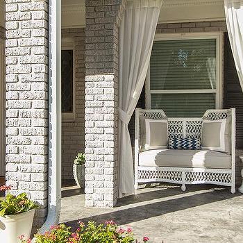 White and Gray Porch Bench, Contemporary, porch, EJ Interiors