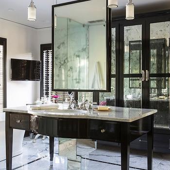Hanging Bathroom Mirror, Hollywood Regency, bathroom, At Home in Arkansas