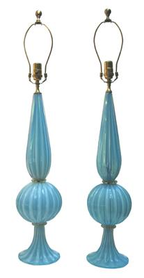 Pair Of Murano Blue And Opaque Table Lamps   John Salibello