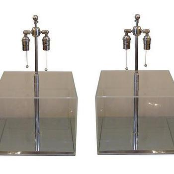 Pair of clear Lucite table lamps, John Salibello