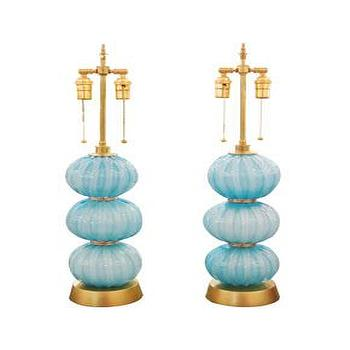 Pair turquoise spherical lamps with brass details, John Salibello