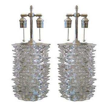 Pair of clear spiked glass lamps by Barovier, John Salibello