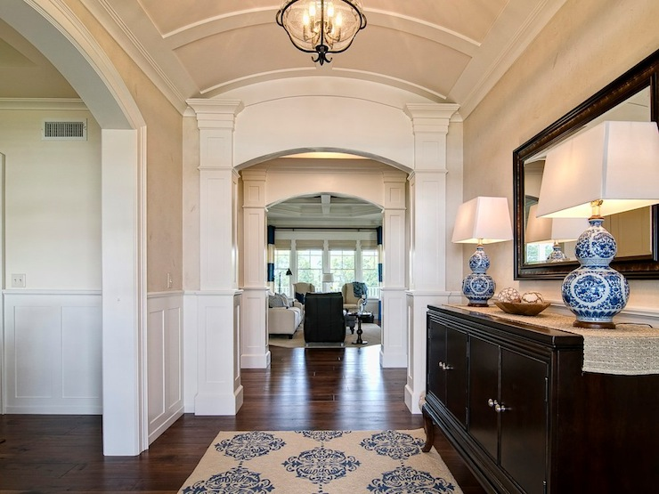 Foyer Ceiling Medallion : Barrel ceiling design traditional entrance foyer