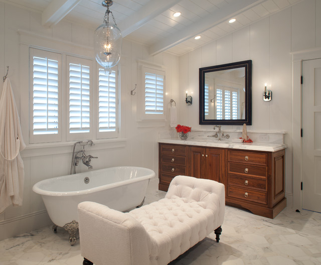 White Tufted Settee Transitional Bathroom Anne Sneed Architectural Interiors