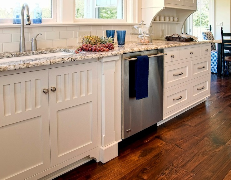 Cream Granite Countertops Hidden Towel Rack Cottage Kitchen