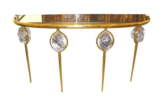 Superb Brass Demilune Console   John Salibello
