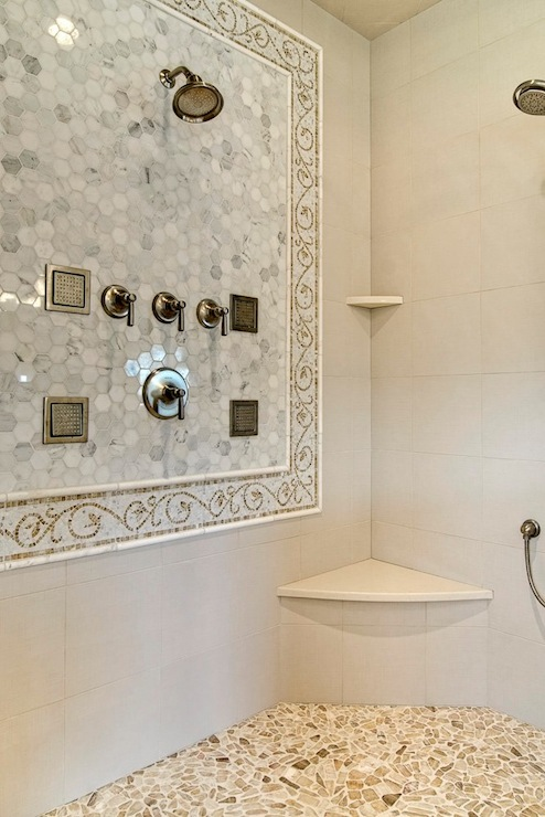 Mosaic Marble Shower Surround Transitional Bathroom